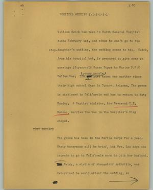 Primary view of object titled '[News Script: Hospital wedding]'.
