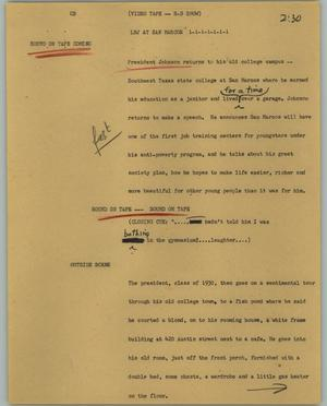 Primary view of object titled '[News Script: LBJ at San Marcos]'.