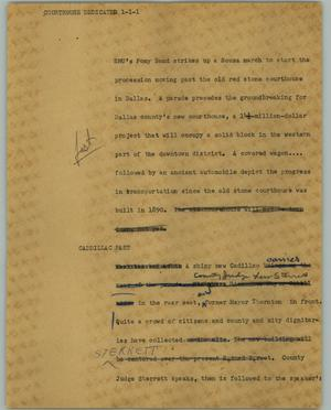 Primary view of object titled '[News Script: Courthouse dedicated]'.