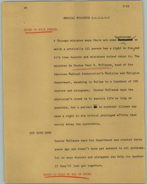 Primary view of object titled '[News Script: Medical minister]'.
