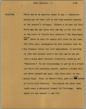 Primary view of object titled '[News Script: Miss Cavalier]'.