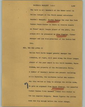 Primary view of object titled '[News Script: Baseball banquet]'.