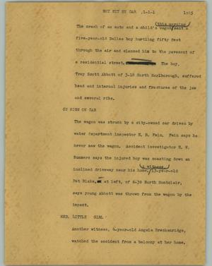Primary view of object titled '[News Script: Boy hit by car]'.
