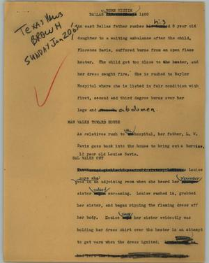Primary view of object titled '[News Script: Burn victim]'.
