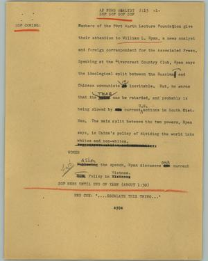Primary view of object titled '[News Script: AP news analyst]'.