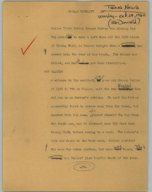 Primary view of object titled '[News Script: Dallas fatality]'.