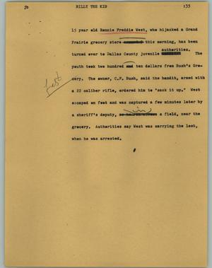 Primary view of object titled '[News Script: Billy The Kid]'.