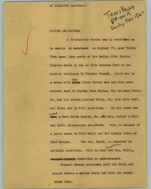 Primary view of object titled '[News Script: At deadline (accident)]'.