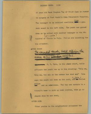 Primary view of object titled '[News Script: Injured youth]'.