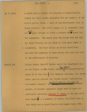 Primary view of object titled '[News Script: Cop party]'.