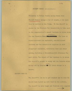 Primary view of object titled '[News Script: Sheriff Decker]'.