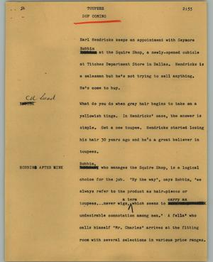 Primary view of object titled '[News Script: Toupees]'.
