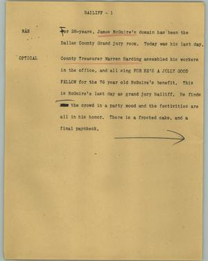 Primary view of object titled '[News Script: Bailiff]'.