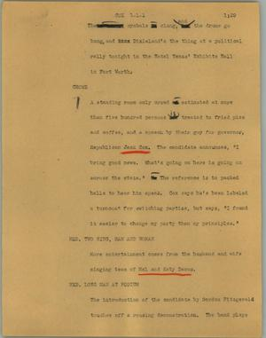 Primary view of object titled '[News Script: Cox]'.