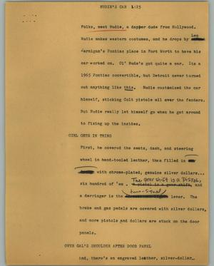 Primary view of object titled '[News Script: Nudie's car]'.