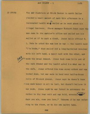 Primary view of object titled '[News Script: A&P holdup]'.