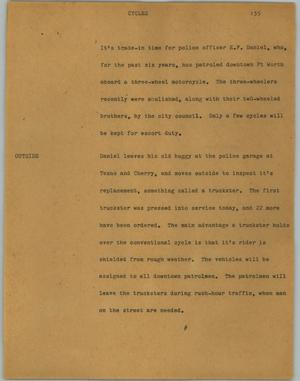 Primary view of object titled '[News Script: Cycles]'.