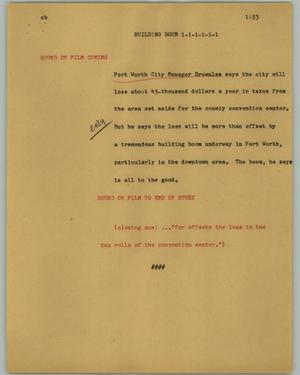 Primary view of object titled '[News Script: Building boom]'.