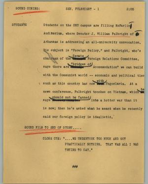 Primary view of object titled '[News Script: Sen. Fulbright]'.