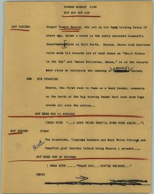 Primary view of object titled '[News Script: Vaughn Monroe]'.