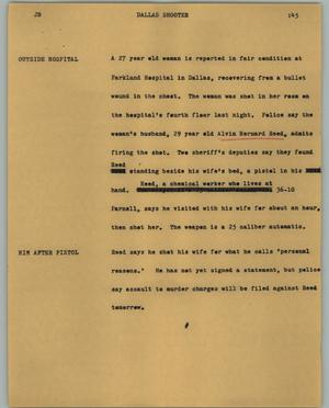 Primary view of object titled '[News Script: Dallas Shooter]'.