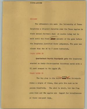 Primary view of object titled '[News Script: Horns-Aggies]'.