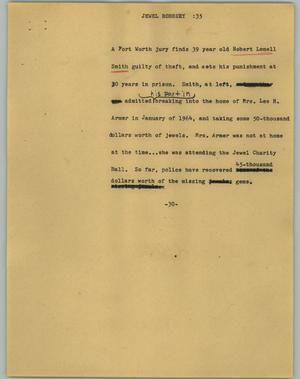 Primary view of object titled '[News Script: Jewel robbery]'.