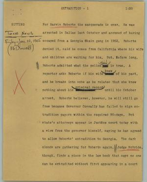 Primary view of object titled '[News Script: Extradition]'.