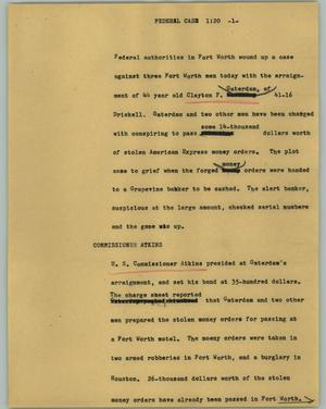Primary view of object titled '[News Script: Federal case]'.