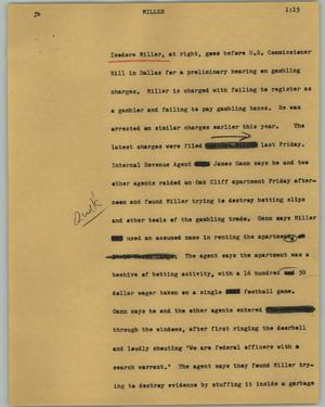 Primary view of object titled '[News Script: Miller]'.