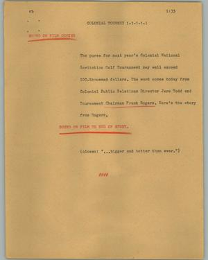 Primary view of object titled '[News Script: Colonial Tourney]'.