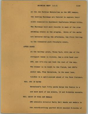 Primary view of object titled '[News Script: Swimming meet]'.