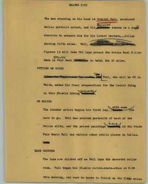 Primary view of object titled '[News Script: Skater]'.