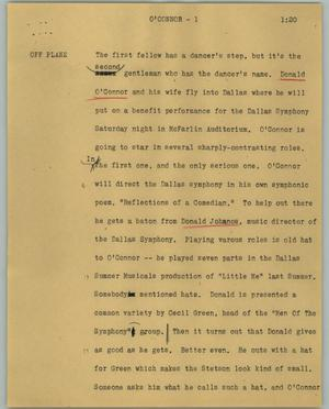 Primary view of object titled '[News Script: O'Connor]'.