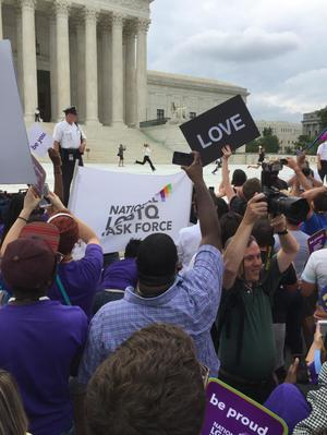 Primary view of object titled '[Running of the Interns at the U.S. Supreme Court on Marriage Equality Day]'.