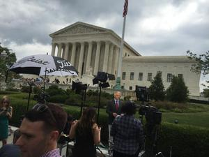 Primary view of object titled '[Photo taken at the U.S. Supreme Court on Marriage Equality Day]'.