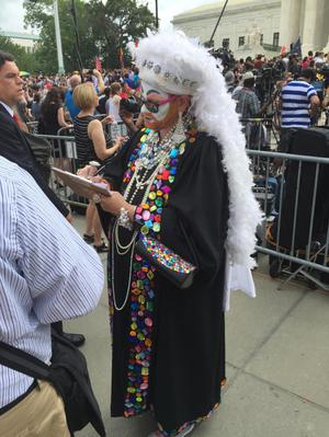 Primary view of object titled '[A Sister of Perpetual Indulgence at the U.S. Supreme Court on Marriage Equality Day]'.