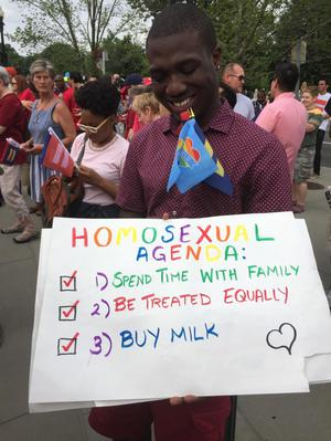 Primary view of object titled '[Poster at the U.S. Supreme Court on Marriage Equality Day Photograph, the Homosexual Agenda]'.