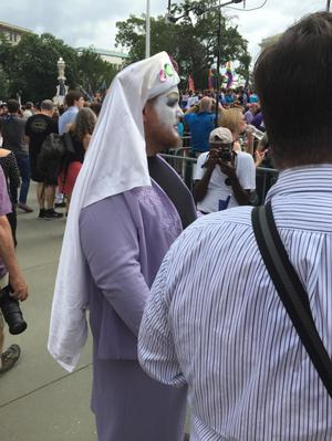 Primary view of object titled '[A sister of Perpetual Indulgence taken at the U.S. Supreme Court on Marriage Equality Day]'.