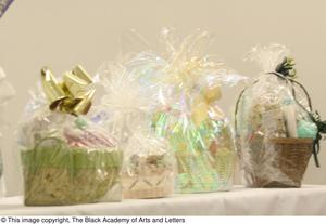 Primary view of object titled '[Gift Baskets on Table]'.