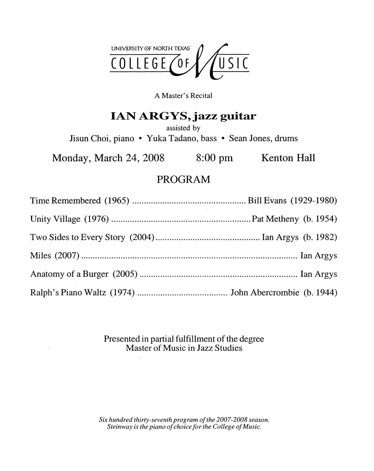 College of Music program book 2007-2008 Student Performances Vol. 2 ...