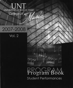 College of Music program book 2007-2008 Student Performances Vol. 2