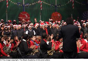 Primary view of object titled '[Curtis King on Stage with Choir and Band]'.