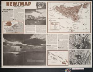 Primary view of object titled 'Newsmap. Monday, June 28, 1943 : week of June 17 to June 24, 198th week of the war, 80th week of U.S. participation.'.