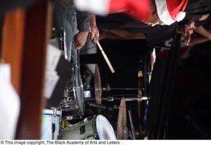 Primary view of object titled '[Drummer on Stage]'.