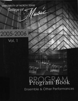 College of Music program book 2005-2006 Ensemble & Other Performances Vol. 1