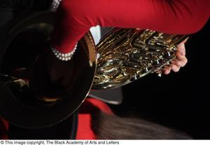 Primary view of object titled '[French Horn Player on Stage]'.