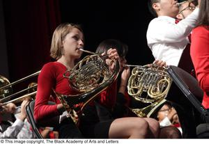 Primary view of object titled '[French Horn Players on Stage]'.