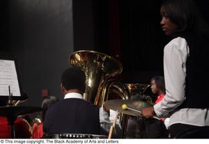 Primary view of object titled '[Tuba Player and Percussionist on Stage]'.