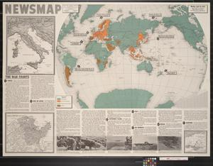 Primary view of object titled 'Newsmap. Monday, April 26, 1943 : week of April 16 to April 23 : 189th week of the war, 71st week of U.S. participation'.